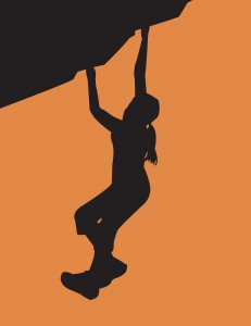 woman bouldering
